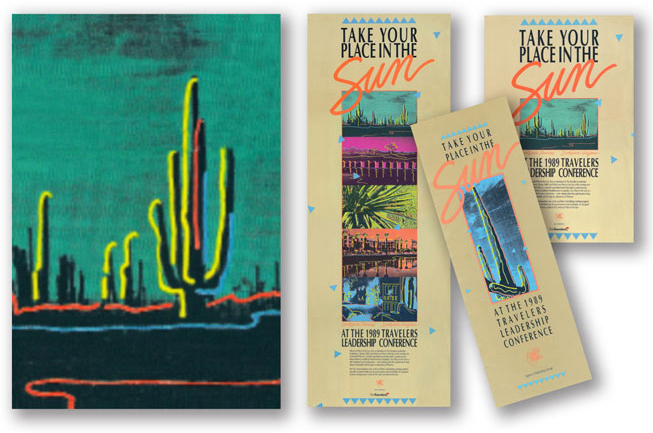 Create unique illustration event branding material to showcase the unique location and theme of the client's conference.